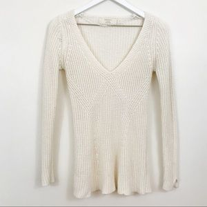 Zara Knit Cream Ivory V-Neck Fitted Sweater
